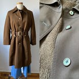 another view of 60's Brown Faux Fur Lined Trench Coat by Yerold