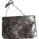 another view of Silver Floral Metallic Clutch