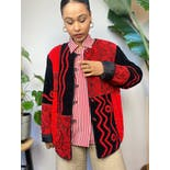 another view of 90's Black and Red Multi Geometric Shape Print Jacket