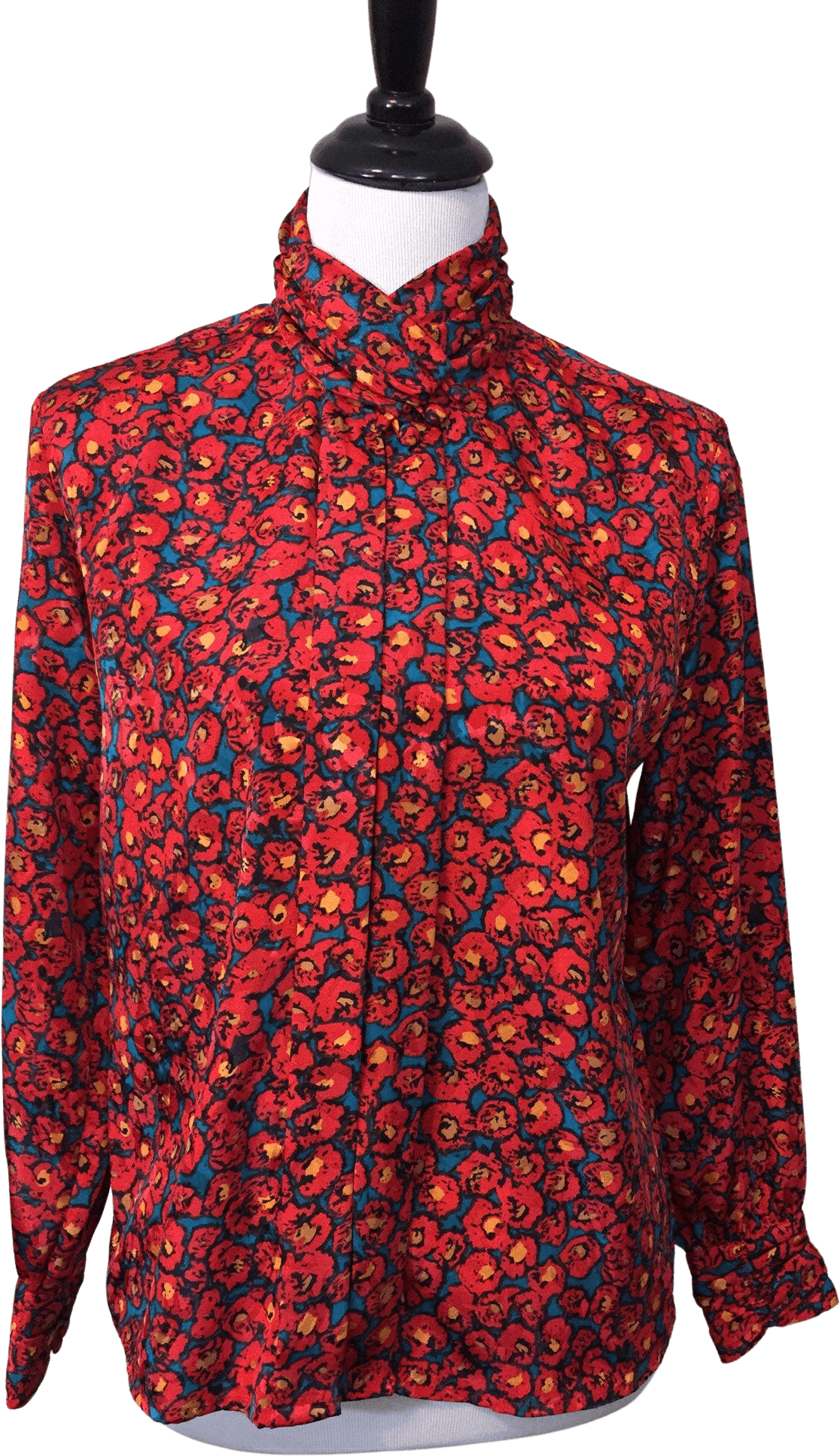 80s Blouse with Red Floral Collar