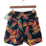another view of 80's Multicolor Bird Print Shorts by Fred Prysquel