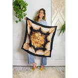 another view of 70's Black and Gold Floral Print Square Scarf by Gucci