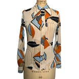 70's Abstract Button Down Blouse by Wayne Rogers