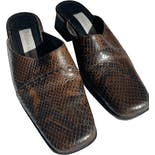 Brown Faux Snakeskin Mules by Etienne Aigner