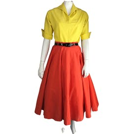 50's Yellow and Orange Patio Two Piece Skirt Set