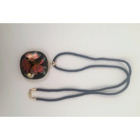 70's Black Cloisonne Pendant Necklace