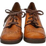 60's Brown Leather Solid Wood Wedge Lace Up Clogs