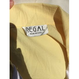 80's Yellow and White Colorblock Floral Appliqué Polo Sweatshirt by Regal