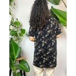 another view of 90's Black Bamboo Leaf Print T-Shirt