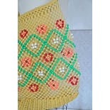 another view of 60's Yellow Mesh Bucket Bag with Multicolor Beading