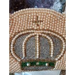 another view of 50's Pearl Beaded Encrusted Crown Clutch by ASF
