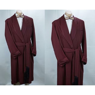 50's Maroon Lounging Robe, Vtg Smoking Robe