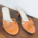 another view of Tangerine Patent Mules by Danelle