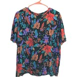90's Black and Multicolor Floral Print Top by Sag Harbor