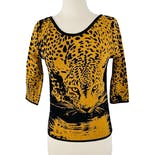 90's Black and Yellow Leopard Print Sweater by Angelica Val