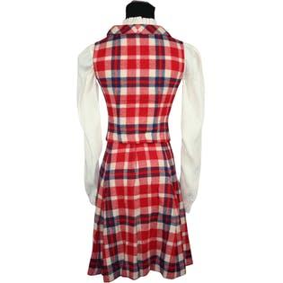 50's/60's Two Piece Plaid Wool Skirt with Tassel Bow Collar Sleeveless