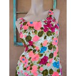 another view of 60's Sleeveless A-Line Multicolor Floral Dress by Gallant California