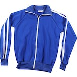 70's Blue Men's Athletic Jacket with White Stripes by Andia