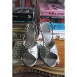another view of 50's Silver High Heel Sandals by A'mano