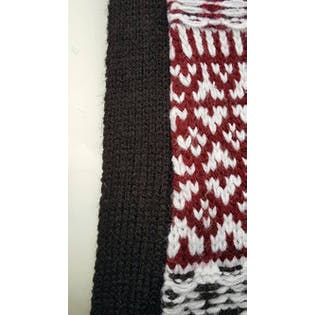 Black White and Red Patterned Knit Vest with Fringe by Golf for Women