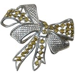 50's Silver Bow with Yellow Jewels Brooch