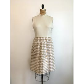 60's Camel and White Houndstooth Dress and Jacket Set