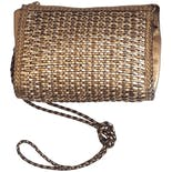 80's Bronze Basket Weave Leather Purse