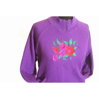 80's Purple Flower Quilted Pocket Sweater by Blast Petites