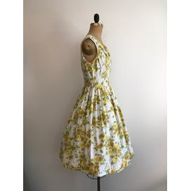 50's Yellow Roses Party Dress