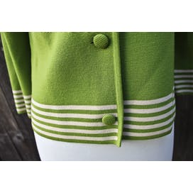 50's/60's Apple Green Virgin Wool Peter Pan Collar Cardigan Sweater