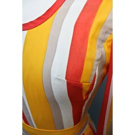 60's/70's Yellow and Orange Striped Dress with Cloud Like Print by Elizabeth Byrne Original