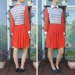 another view of 70's Orange Dress with Striped Bodice and Pleated Skirt
