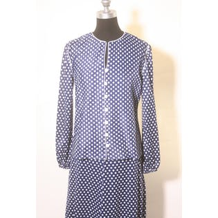 80's Polka Dot Blue and White Two Piece Blouse and Skirt by Andrea Gayle