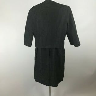 50's Black Sleeveless Jacquard Sheath Dress With Matching Jacket