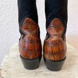 another view of Black and Brown Leather and Suede Cowboy Bootsby Justine