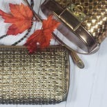 another view of 80's Bronze Basket Weave Leather Purse