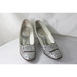 60's Sparkly Silver Heels with Large Buckle by Amano