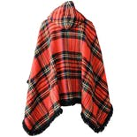 another view of 70's Red Wool Tartan Plaid Hooded Poncho with Fringe