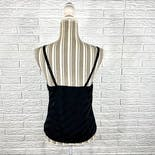 another view of Black Striped Satin Camisole with Lace Top by Movie Star