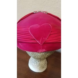 50's Hot Pink Velvet Hat with Heart Shape Rhinestones by Modern Miss