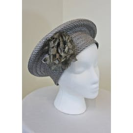 80's Halo Style Blue Woven Hat by Deborah Rhodes