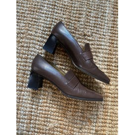 90's Brown Heeled Loafers by Stuart Wetizman