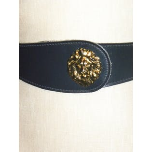 70's/80's Blue Leather Belt with Gold Lion by Anne Klein for Calderon