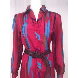 80's Fuchsia Abstract Print Dress by Schrader Sport