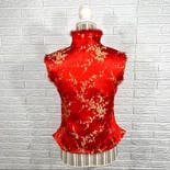 another view of Red and Gold Floral Print Fur Trimmed Vest by Yonghong