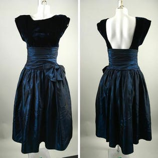 90's Navy Blue Backless Prom Dress by Special Times
