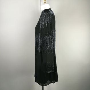 80's Black Bead Embellished Cardigan by Ikara