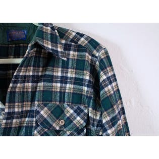 Green Wool Plaid Button Up by Pendleton