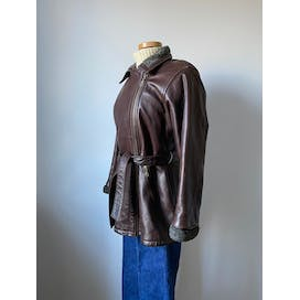Belted Brown Leather Jacket