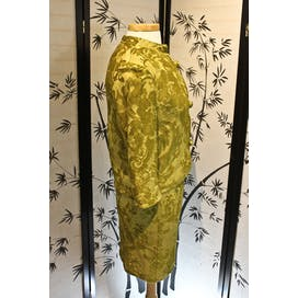 60's Green Velvet Brocade Silk Ladies Suit by Jeunesse New York